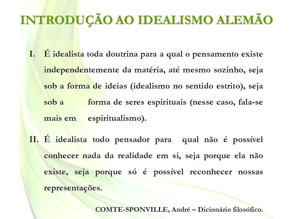 INTRODUÇÃO AO IDEALISMO ALEMÃO I.É idealista toda doutrina para a qual o pensamento existe independentemente da matéria, até mesmo sozinho, seja sob a