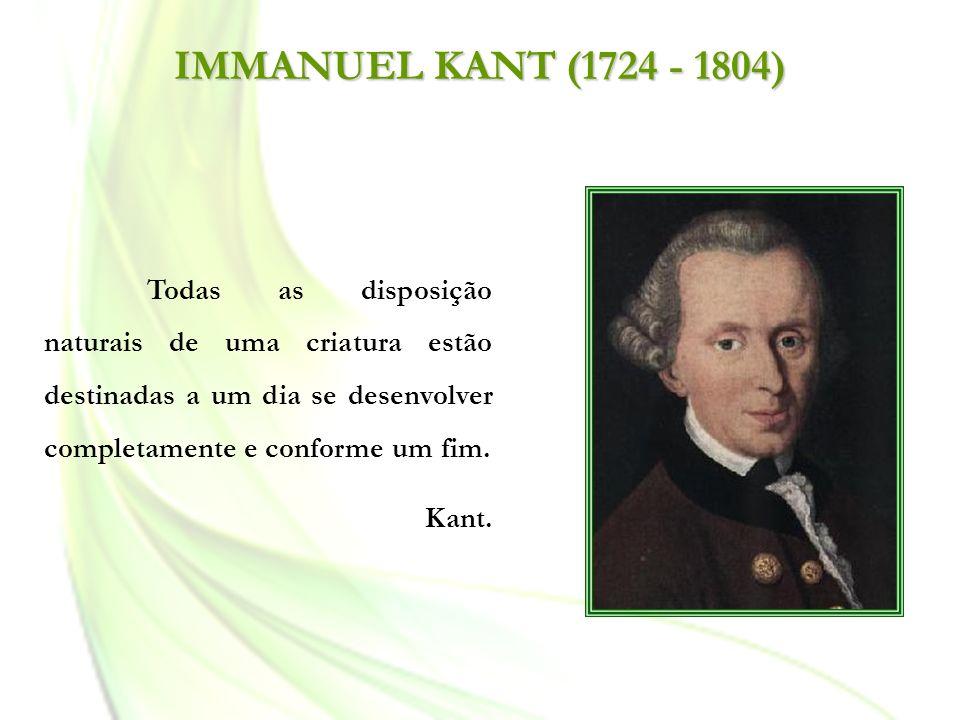 IMMANUEL KANT (1724 - 1804) Todas as disposição naturais de uma criatura estão destinadas a um dia se desenvolver completamente e conforme um fim. Kan