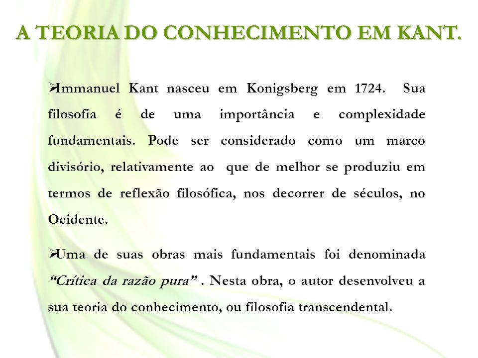 A TEORIA DO CONHECIMENTO EM KANT. Immanuel Kant nasceu em Konigsberg em 1724. Sua filosofia é de uma importância e complexidade fundamentais. Pode ser