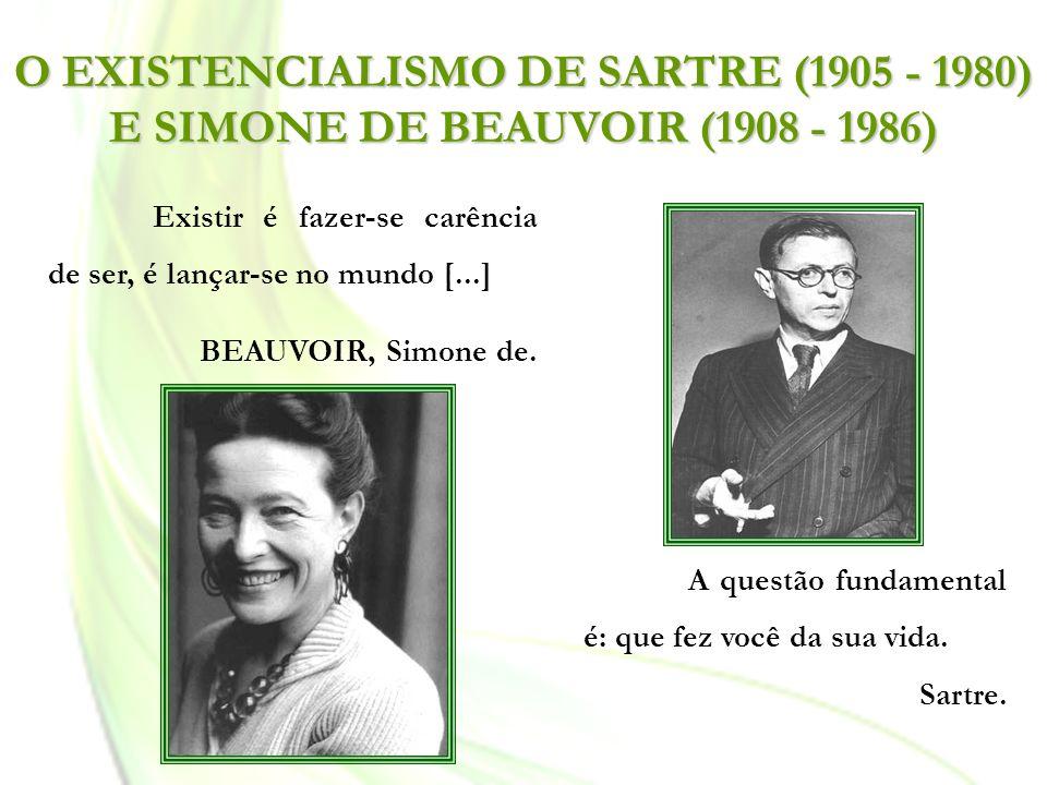 O EXISTENCIALISMO DE SARTRE (1905 - 1980) E SIMONE DE BEAUVOIR (1908 - 1986) Existir é fazer-se carência de ser, é lançar-se no mundo [...] BEAUVOIR,