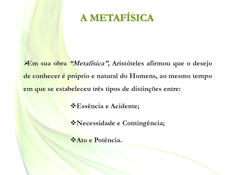 A METAFÍSICA Em sua obra Metafísica, Aristóteles afirmou que o desejo de conhecer é próprio e natural do Homens, ao mesmo tempo em que se estabeleceu