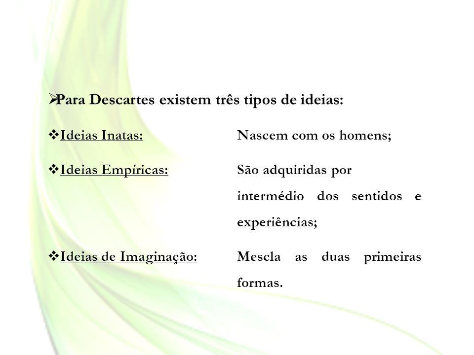Para Descartes existem três tipos de ideias: Ideias Inatas: Nascem com os homens; Ideias Empíricas: São adquiridas por intermédio dos sentidos e exper