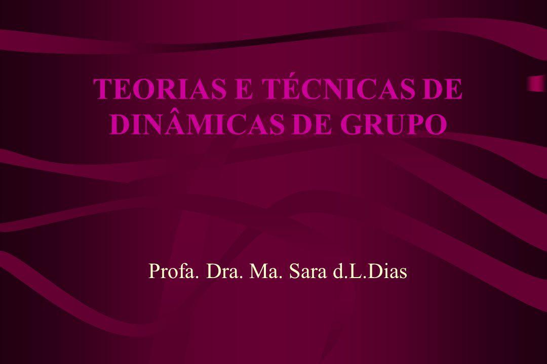 TEORIAS E TÉCNICAS DE DINÂMICAS DE GRUPO Profa. Dra. Ma. Sara d.L.Dias