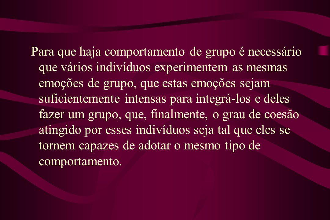 Para que haja comportamento de grupo é necessário que vários indivíduos experimentem as mesmas emoções de grupo, que estas emoções sejam suficientemen