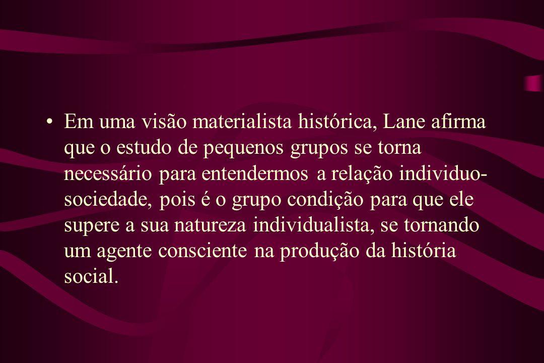 Em uma visão materialista histórica, Lane afirma que o estudo de pequenos grupos se torna necessário para entendermos a relação individuo- sociedade,