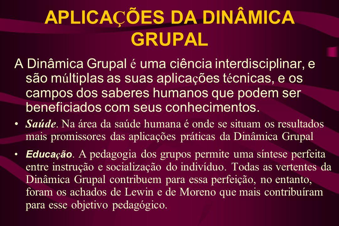 APLICA Ç ÕES DA DINÂMICA GRUPAL A Dinâmica Grupal é uma ciência interdisciplinar, e são m ú ltiplas as suas aplica ç ões t é cnicas, e os campos dos s