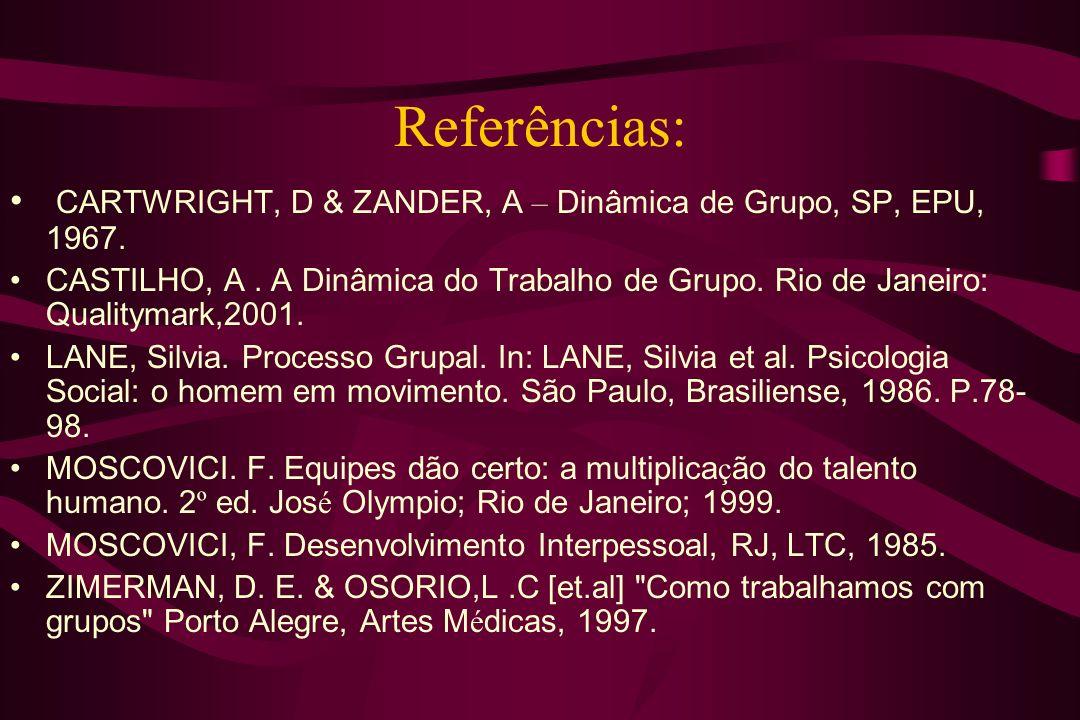 Referências: CARTWRIGHT, D & ZANDER, A – Dinâmica de Grupo, SP, EPU, 1967. CASTILHO, A. A Dinâmica do Trabalho de Grupo. Rio de Janeiro: Qualitymark,2