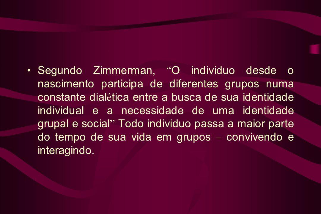 Segundo Zimmerman, O individuo desde o nascimento participa de diferentes grupos numa constante dial é tica entre a busca de sua identidade individual