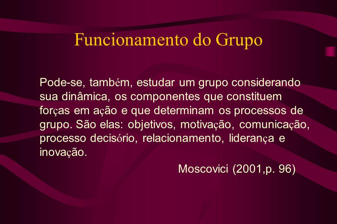 Pode-se, tamb é m, estudar um grupo considerando sua dinâmica, os componentes que constituem for ç as em a ç ão e que determinam os processos de grupo