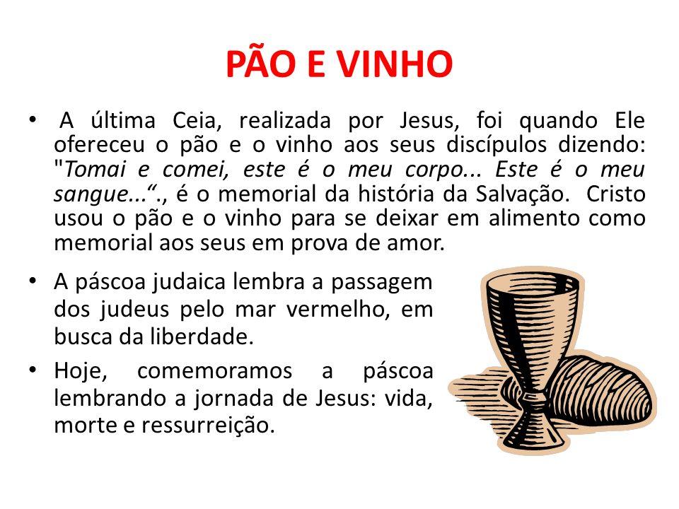 PÃO E VINHO A última Ceia, realizada por Jesus, foi quando Ele ofereceu o pão e o vinho aos seus discípulos dizendo: