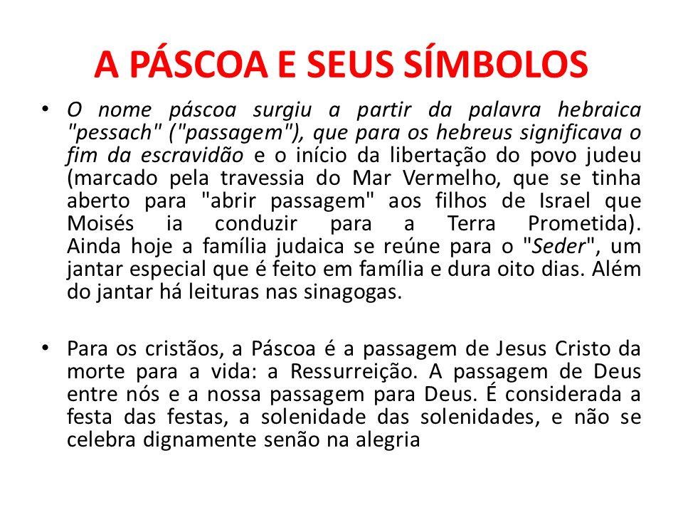 A PÁSCOA E SEUS SÍMBOLOS O nome páscoa surgiu a partir da palavra hebraica