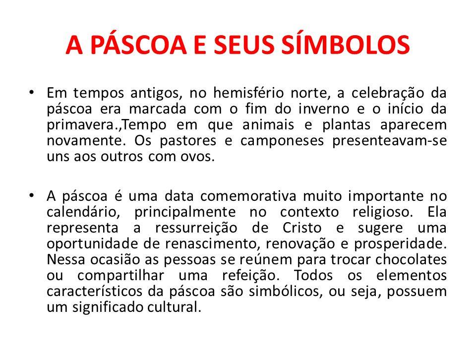 A PÁSCOA E SEUS SÍMBOLOS Em tempos antigos, no hemisfério norte, a celebração da páscoa era marcada com o fim do inverno e o início da primavera.,Temp