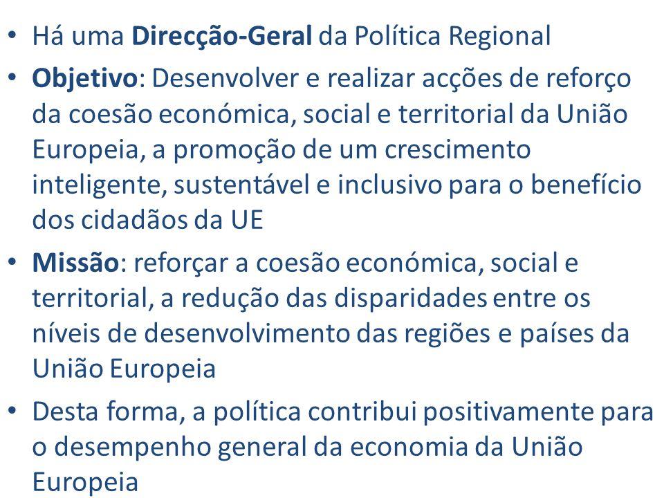 Há uma Direcção-Geral da Política Regional Objetivo: Desenvolver e realizar acções de reforço da coesão económica, social e territorial da União Europ
