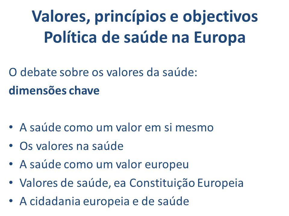 Valores, princípios e objectivos Política de saúde na Europa O debate sobre os valores da saúde: dimensões chave A saúde como um valor em si mesmo Os