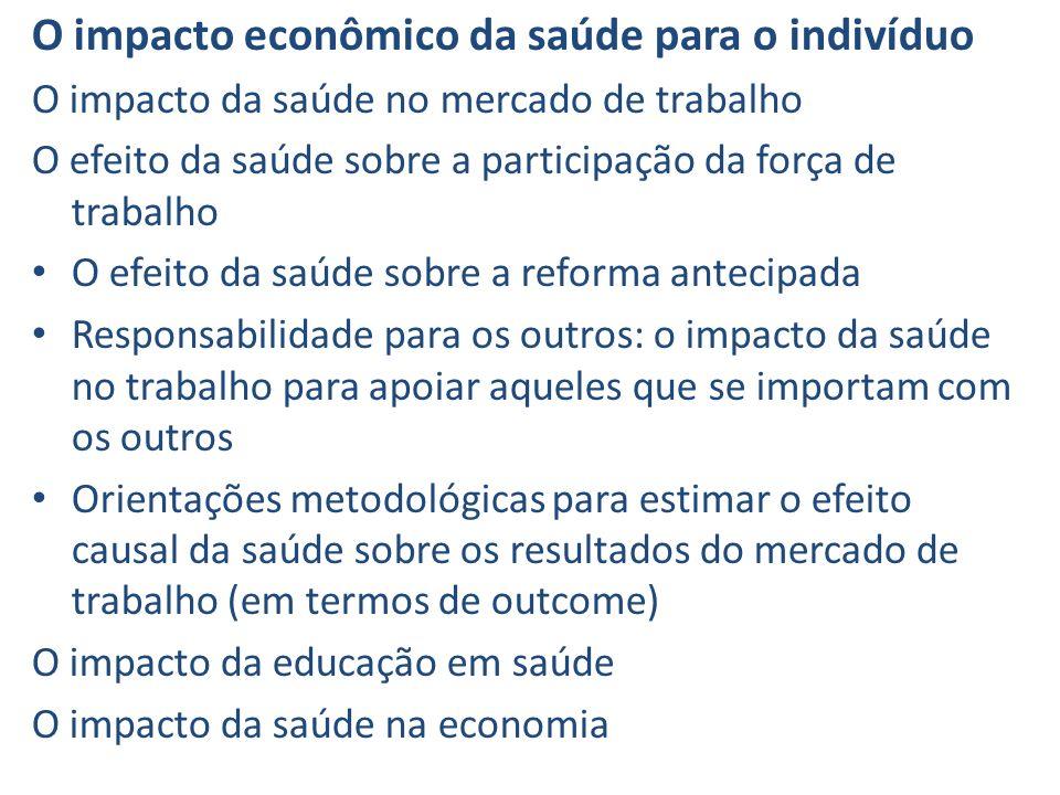 O impacto econômico da saúde para o indivíduo O impacto da saúde no mercado de trabalho O efeito da saúde sobre a participação da força de trabalho O