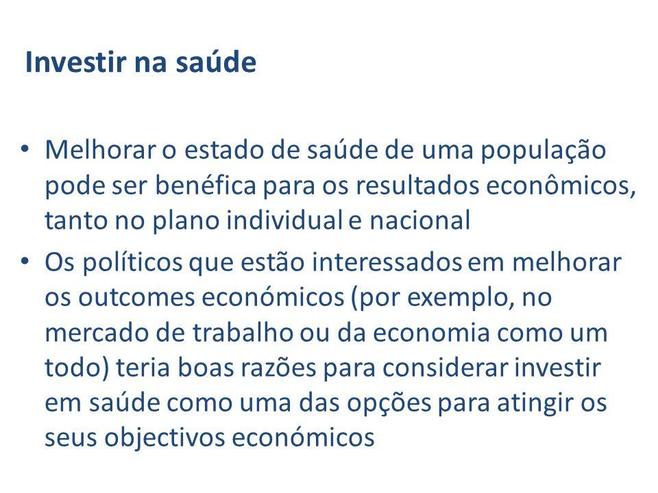 Investir na saúde Melhorar o estado de saúde de uma população pode ser benéfica para os resultados econômicos, tanto no plano individual e nacional Os