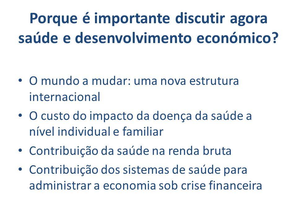 Porque é importante discutir agora saúde e desenvolvimento económico? O mundo a mudar: uma nova estrutura internacional O custo do impacto da doença d