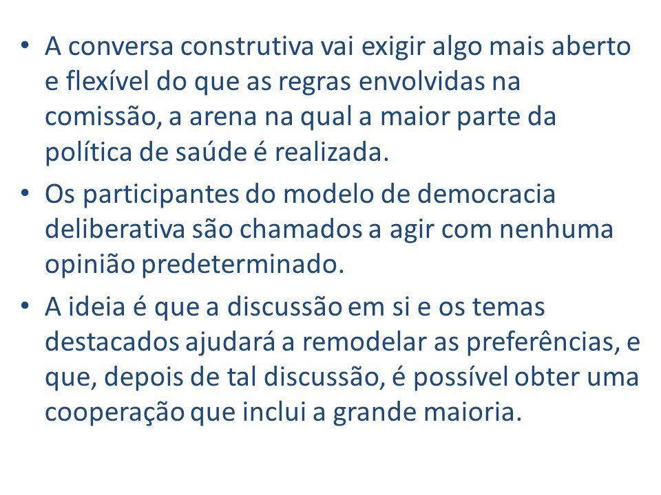 A conversa construtiva vai exigir algo mais aberto e flexível do que as regras envolvidas na comissão, a arena na qual a maior parte da política de sa