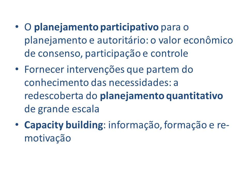 O planejamento participativo para o planejamento e autoritário: o valor econômico de consenso, participação e controle Fornecer intervenções que parte