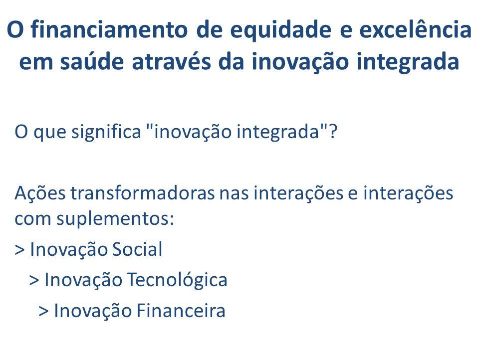 O financiamento de equidade e excelência em saúde através da inovação integrada O que significa