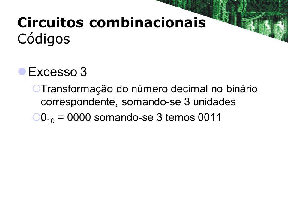 Circuitos combinacionais Códigos Excesso 3 Transformação do número decimal no binário correspondente, somando-se 3 unidades 0 10 = 0000 somando-se 3 t