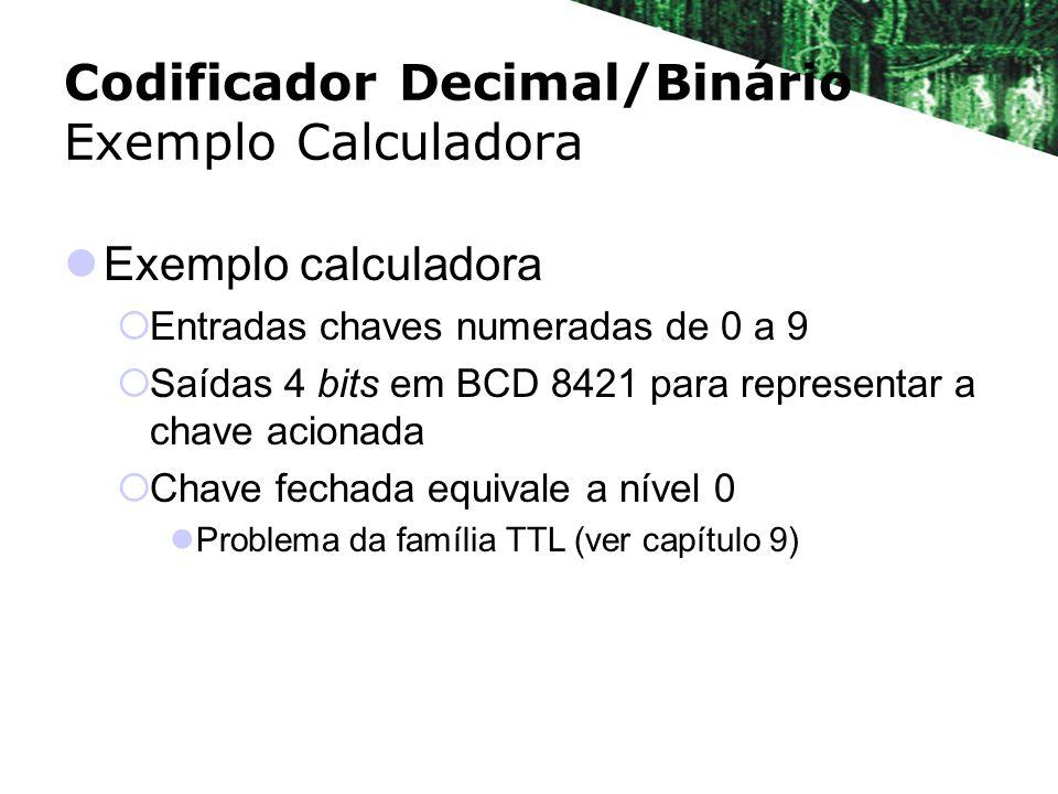 Exemplo calculadora Entradas chaves numeradas de 0 a 9 Saídas 4 bits em BCD 8421 para representar a chave acionada Chave fechada equivale a nível 0 Pr