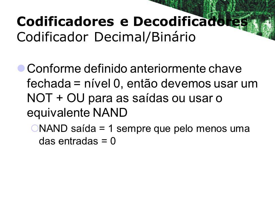 Codificadores e Decodificadores Codificador Decimal/Binário Conforme definido anteriormente chave fechada = nível 0, então devemos usar um NOT + OU pa