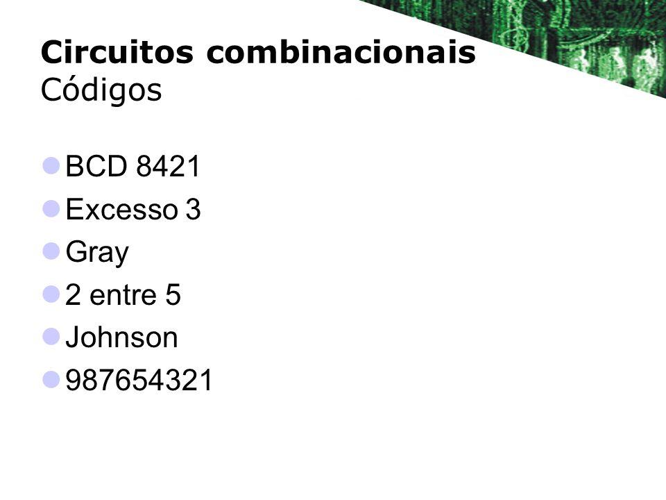Circuitos combinacionais Códigos BCD 8421 BCD = Binary Coded Decimal Codificação do sistema decimal em binário Código de 4 bits Código válido de 0 a 9 10
