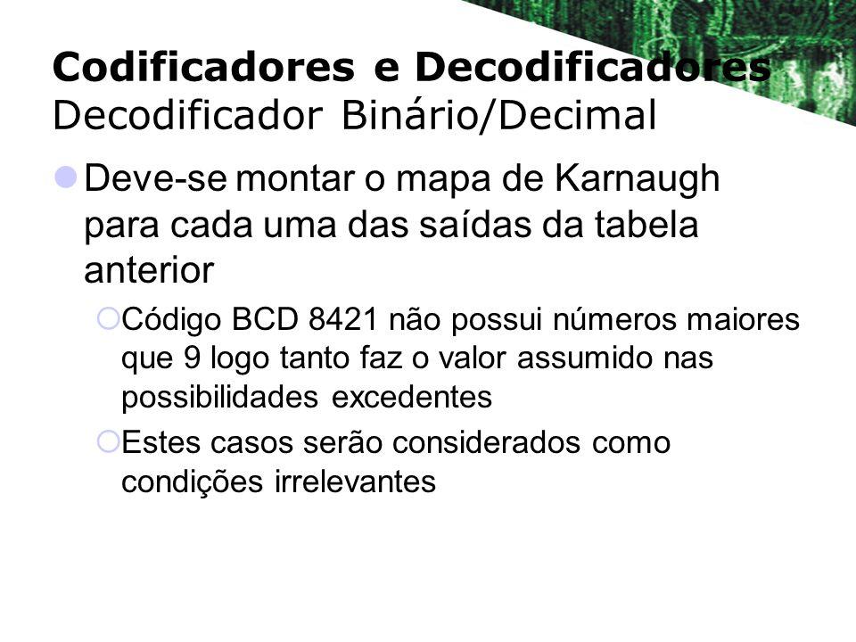 Deve-se montar o mapa de Karnaugh para cada uma das saídas da tabela anterior Código BCD 8421 não possui números maiores que 9 logo tanto faz o valor