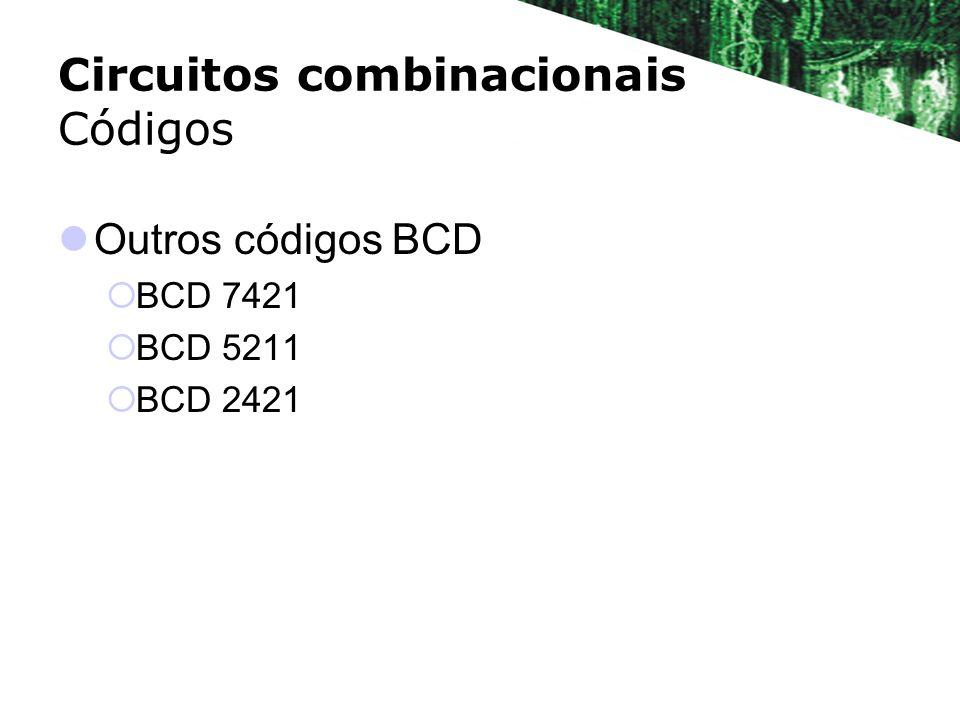 Códigos BCD ? DecimalBCD 7421 ABCD 0 1 2 3 4 5 6 7 8 9