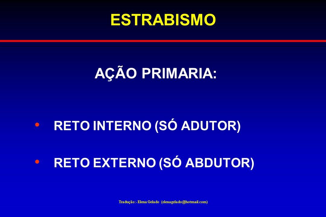 Tradução:- Elena Gelado (elenagelado@hotmail.com) ESTRABISMO AÇÃO PRIMARIA: RETO INTERNO (SÓ ADUTOR) RETO EXTERNO (SÓ ABDUTOR)