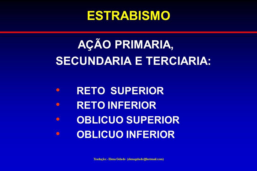 Tradução:- Elena Gelado (elenagelado@hotmail.com) ESTRABISMO AÇÃO PRIMARIA, SECUNDARIA E TERCIARIA: RETO SUPERIOR RETO INFERIOR OBLICUO SUPERIOR OBLIC