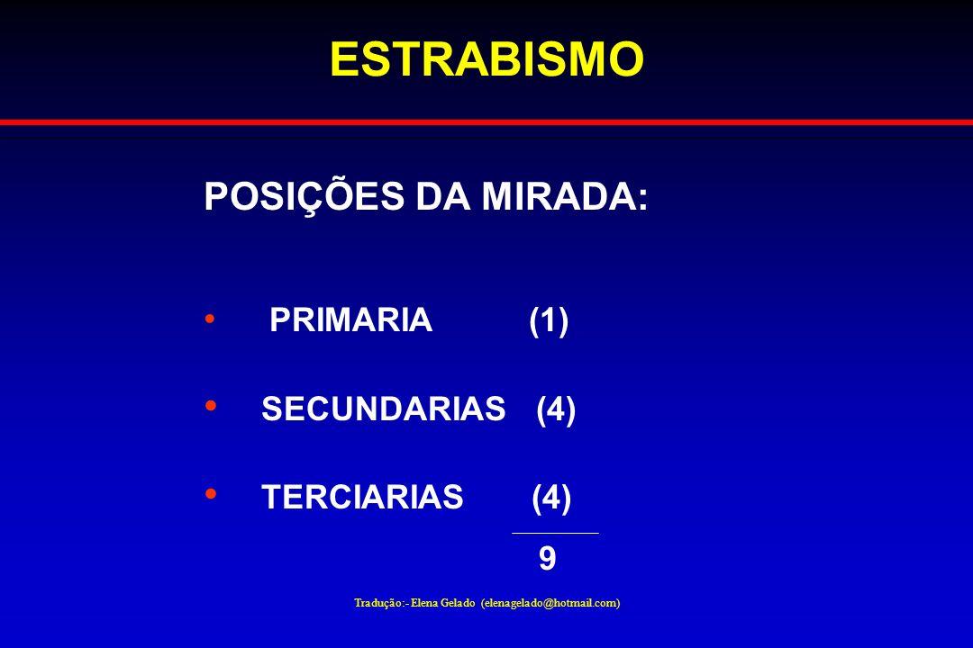 Tradução:- Elena Gelado (elenagelado@hotmail.com) ESTRABISMO POSIÇÕES DA MIRADA: PRIMARIA (1) SECUNDARIAS (4) TERCIARIAS (4) 9