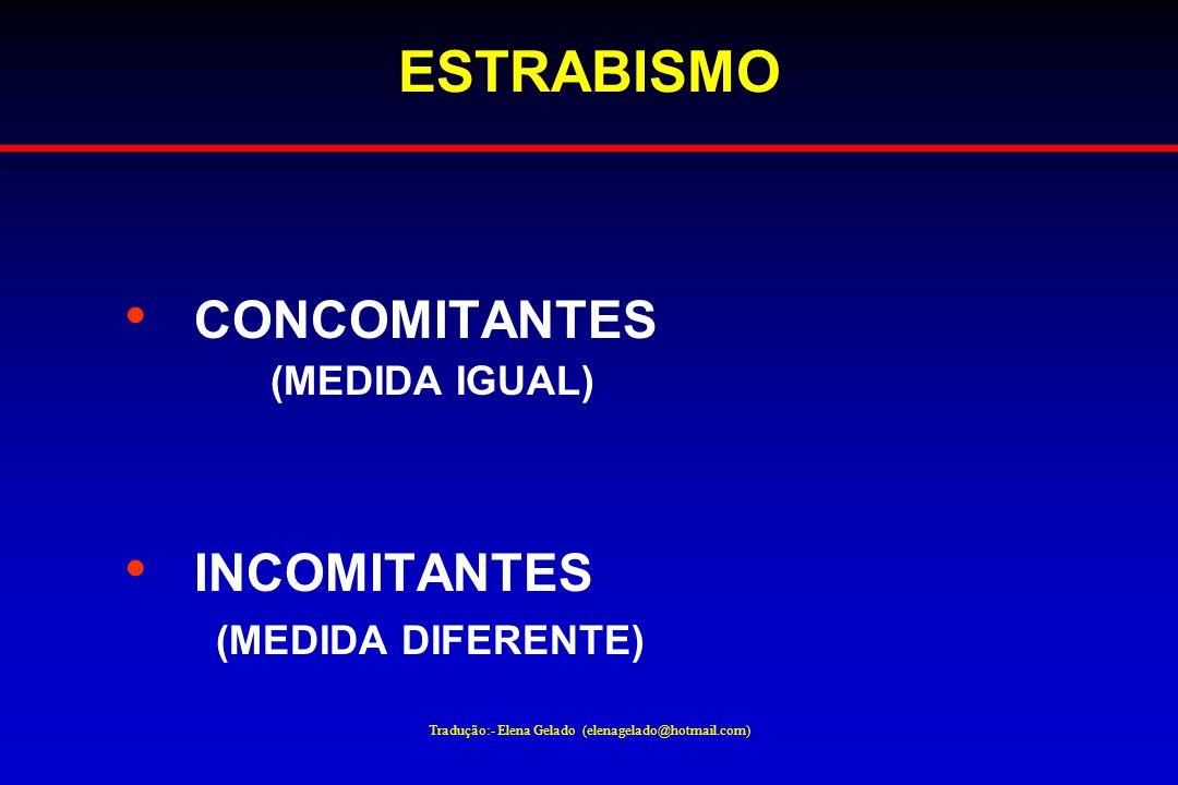 Tradução:- Elena Gelado (elenagelado@hotmail.com) ESTRABISMO CONCOMITANTES (MEDIDA IGUAL) INCOMITANTES (MEDIDA DIFERENTE)