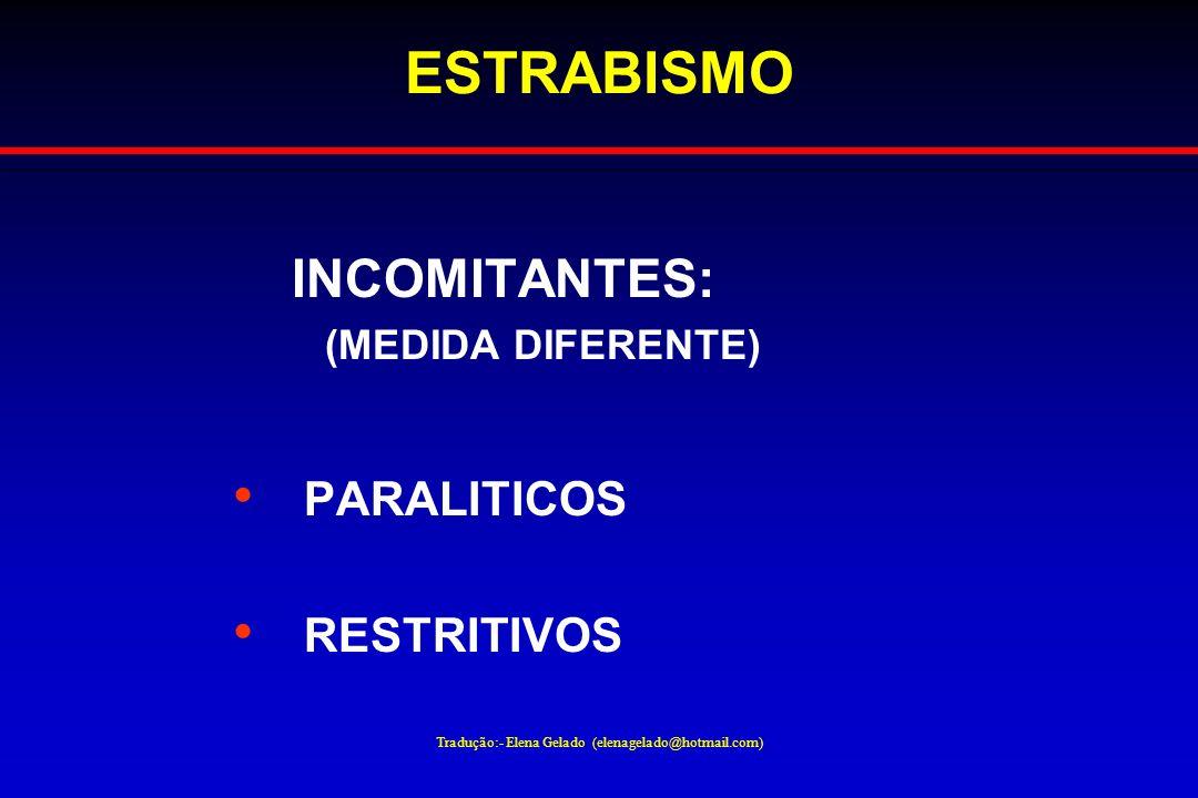 Tradução:- Elena Gelado (elenagelado@hotmail.com) ESTRABISMO INCOMITANTES: (MEDIDA DIFERENTE) PARALITICOS RESTRITIVOS