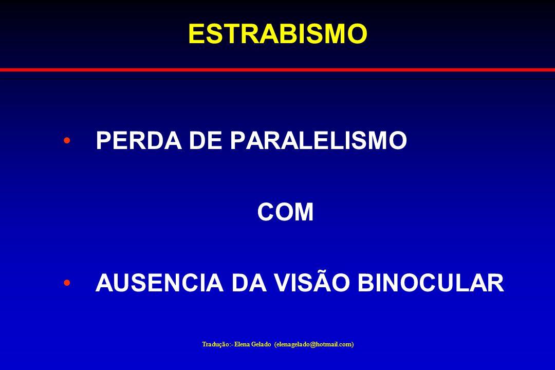 Tradução:- Elena Gelado (elenagelado@hotmail.com) ESTRABISMO PERDA DE PARALELISMO COM AUSENCIA DA VISÃO BINOCULAR