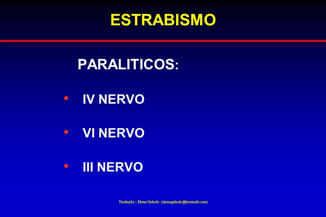 Tradução:- Elena Gelado (elenagelado@hotmail.com) ESTRABISMO PARALITICOS : IV NERVO VI NERVO III NERVO