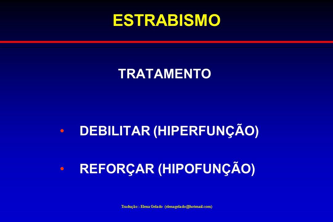 Tradução:- Elena Gelado (elenagelado@hotmail.com) ESTRABISMO TRATAMENTO DEBILITAR (HIPERFUNÇÃO) REFORÇAR (HIPOFUNÇÃO)