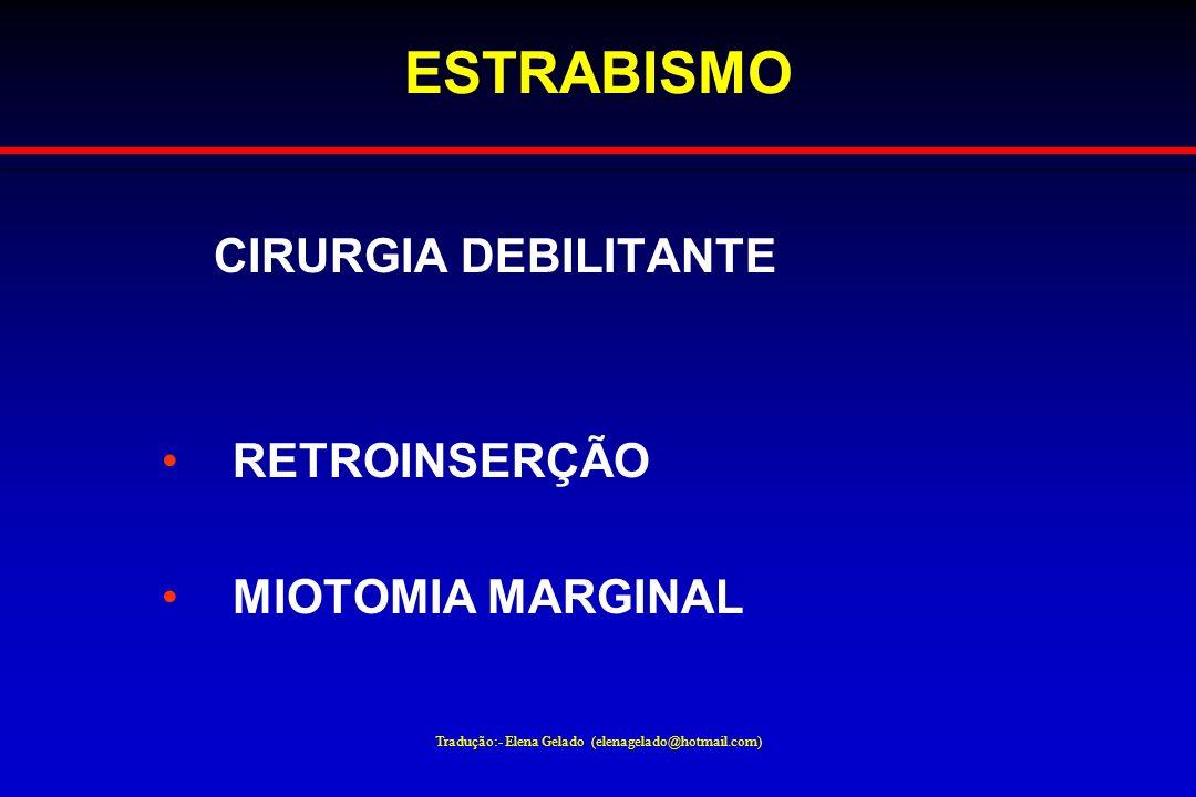 Tradução:- Elena Gelado (elenagelado@hotmail.com) ESTRABISMO CIRURGIA DEBILITANTE RETROINSERÇÃO MIOTOMIA MARGINAL