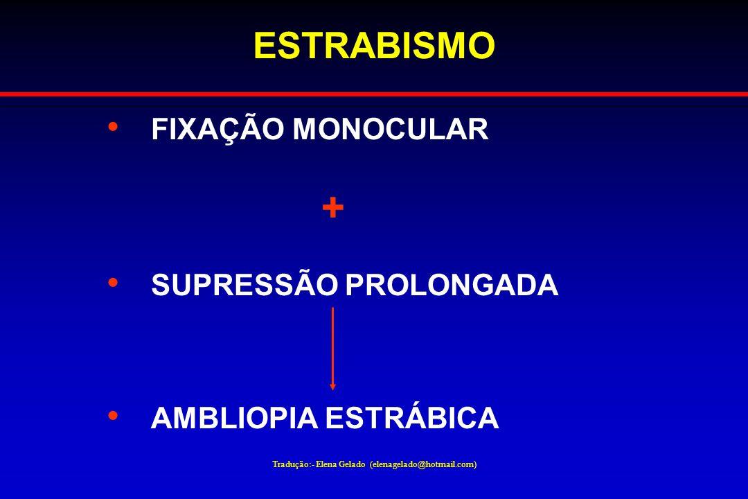 Tradução:- Elena Gelado (elenagelado@hotmail.com) ESTRABISMO FIXAÇÃO MONOCULAR + SUPRESSÃO PROLONGADA AMBLIOPIA ESTRÁBICA