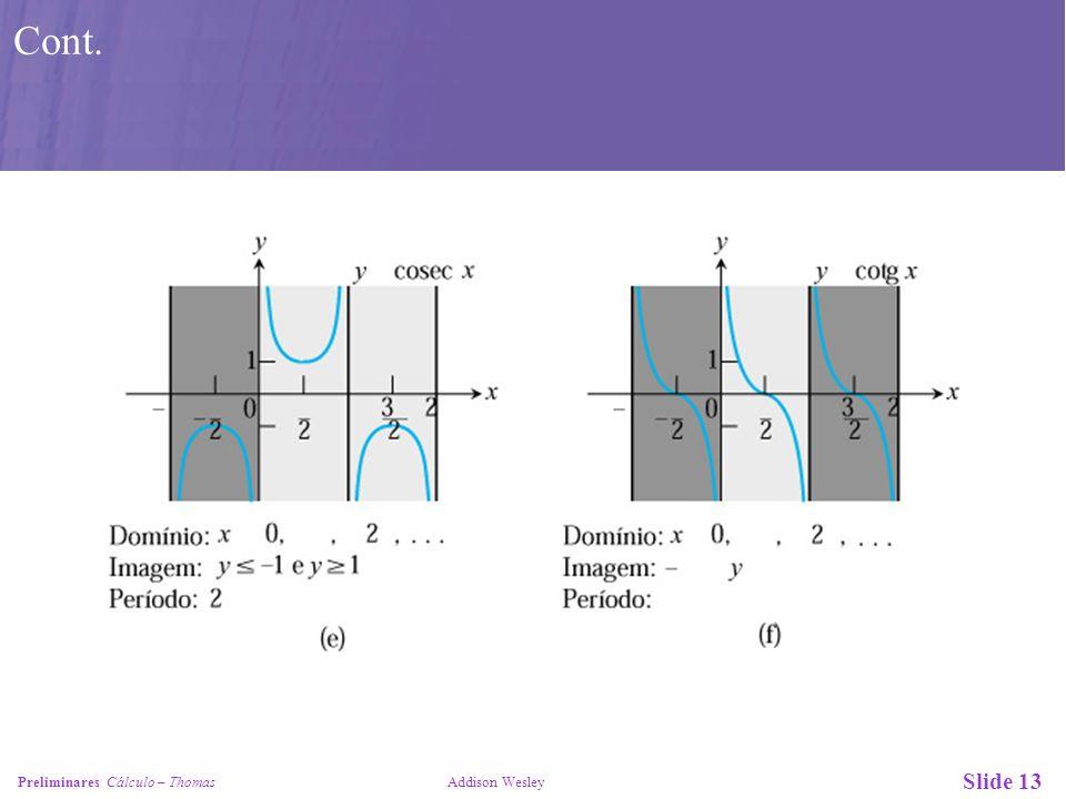 Slide 14 Preliminares Cálculo – Thomas Addison Wesley Figura 50: Gráficos de (a) y = arc cos x, (b) y = arc sen x, (c) y = arc tg x, (d) y = arc sec x, (e) y = arc cosec x e (f) y = arc cotg x.