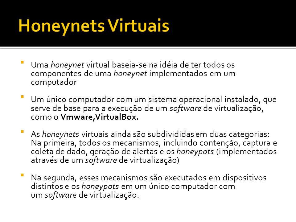 Uma honeynet virtual baseia-se na idéia de ter todos os componentes de uma honeynet implementados em um computador Um único computador com um sistema
