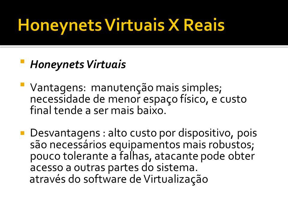 Honeynets Virtuais Vantagens: manutenção mais simples; necessidade de menor espaço físico, e custo final tende a ser mais baixo. Desvantagens : alto c