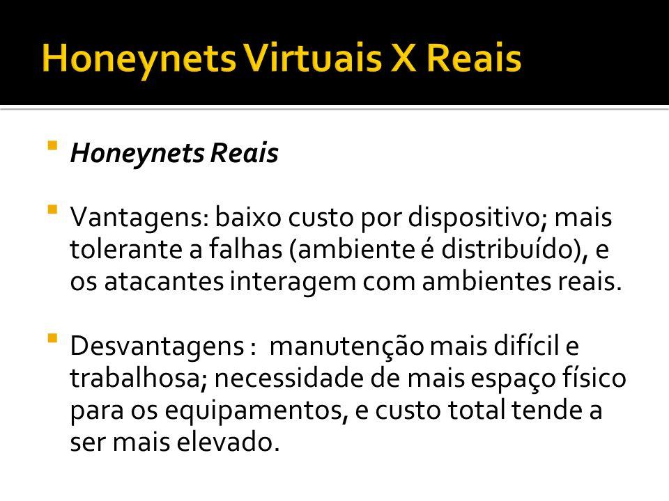 Honeynets Reais Vantagens: baixo custo por dispositivo; mais tolerante a falhas (ambiente é distribuído), e os atacantes interagem com ambientes reais