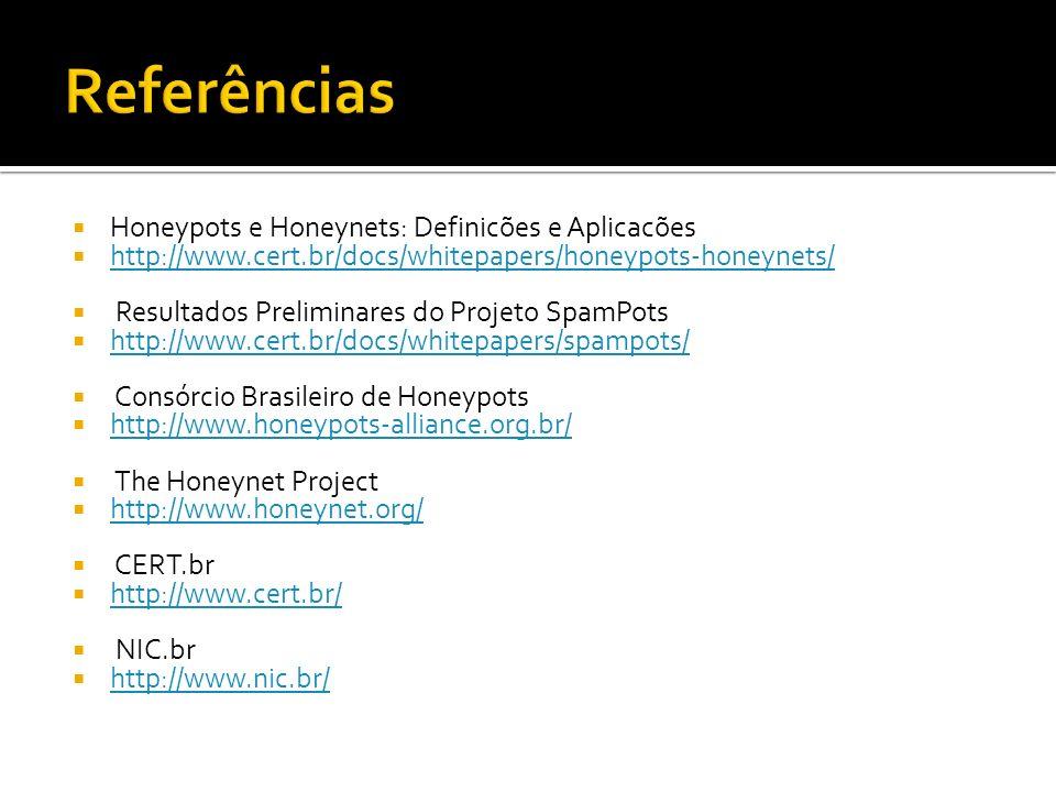 Honeypots e Honeynets: Definicões e Aplicacões http://www.cert.br/docs/whitepapers/honeypots-honeynets/ Resultados Preliminares do Projeto SpamPots ht