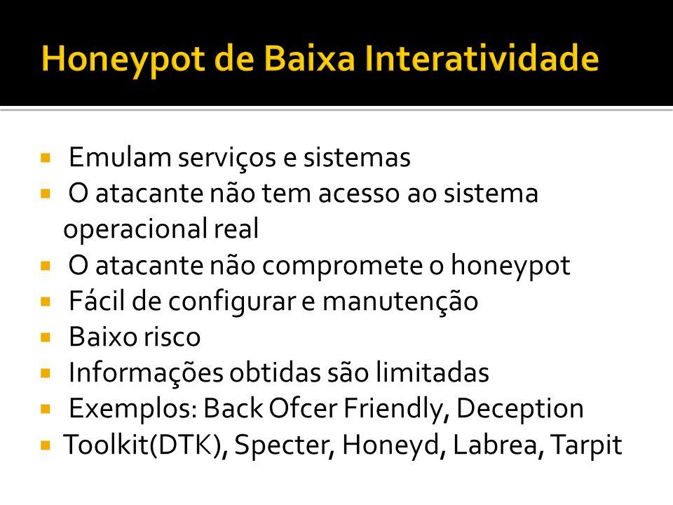 Emulam serviços e sistemas O atacante não tem acesso ao sistema operacional real O atacante não compromete o honeypot Fácil de configurar e manutenção