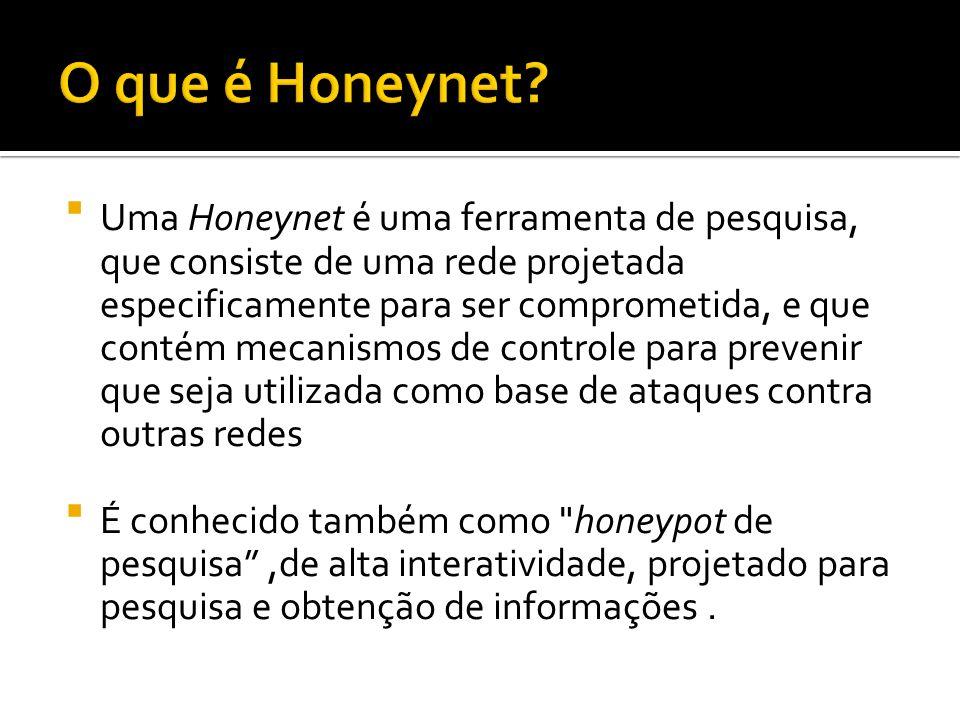 Uma Honeynet é uma ferramenta de pesquisa, que consiste de uma rede projetada especificamente para ser comprometida, e que contém mecanismos de contro