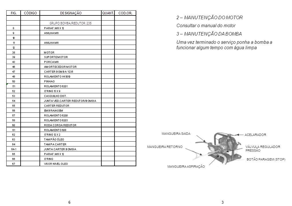 63 2 – MANUTENÇÃO DO MOTOR Consultar o manual do motor 3 – MANUTENÇÃO DA BOMBA Uma vez terminado o serviço ponha a bomba a funcionar algum tempo com á