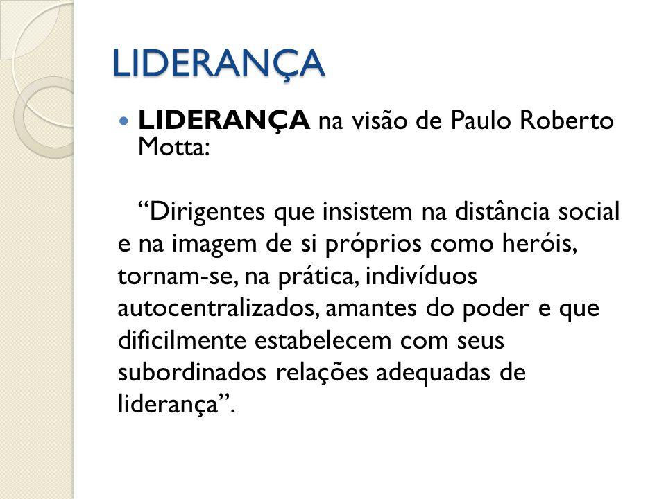 LIDERANÇA LIDERANÇA na visão de Paulo Roberto Motta: Dirigentes que insistem na distância social e na imagem de si próprios como heróis, tornam-se, na