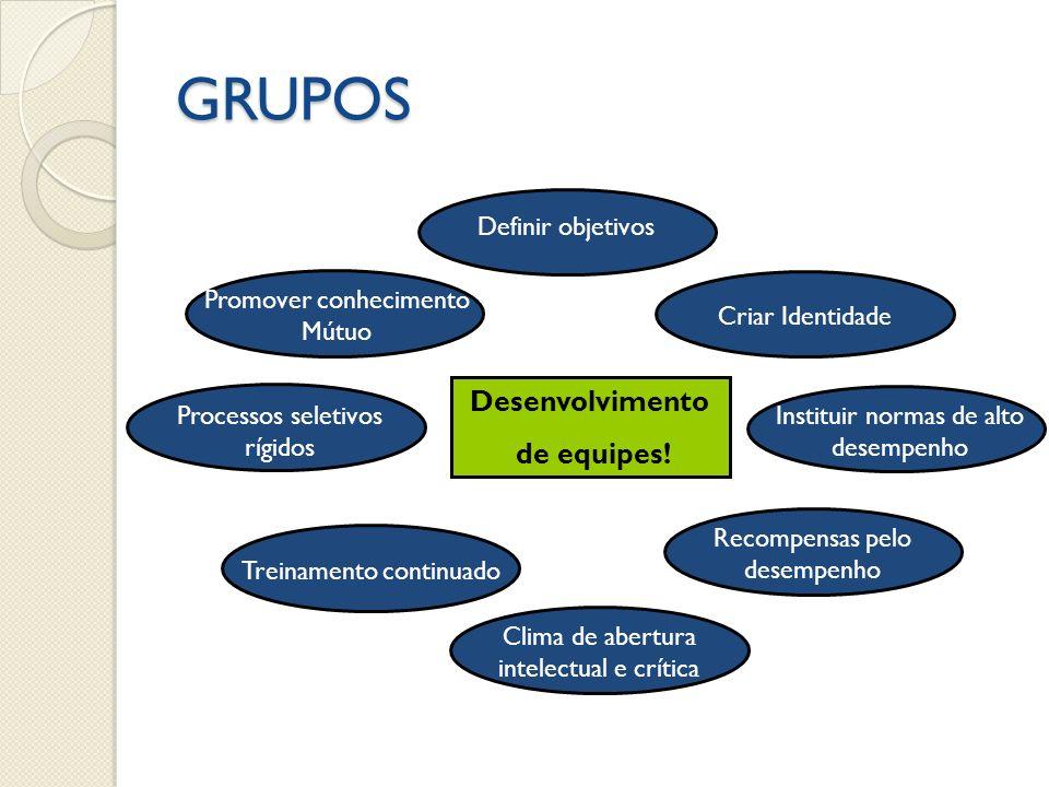 GRUPOS Processos seletivos rígidos Instituir normas de alto desempenho Concenso Recompensas pelo desempenho Desenvolvimento de equipes! Criar Identida
